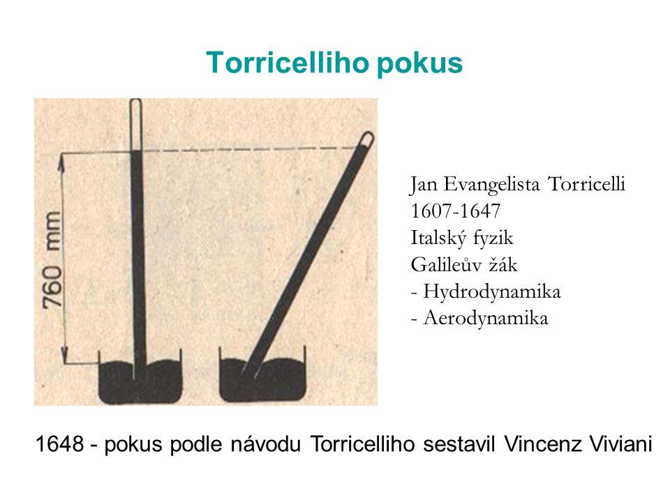 Torricelliho pokus Jan Evangelista Torricelli 1607-1647 Italský fyzik Galileův žák - Hydrodynamika - Aerodynamika 1648 - pokus podle návodu Torricelli