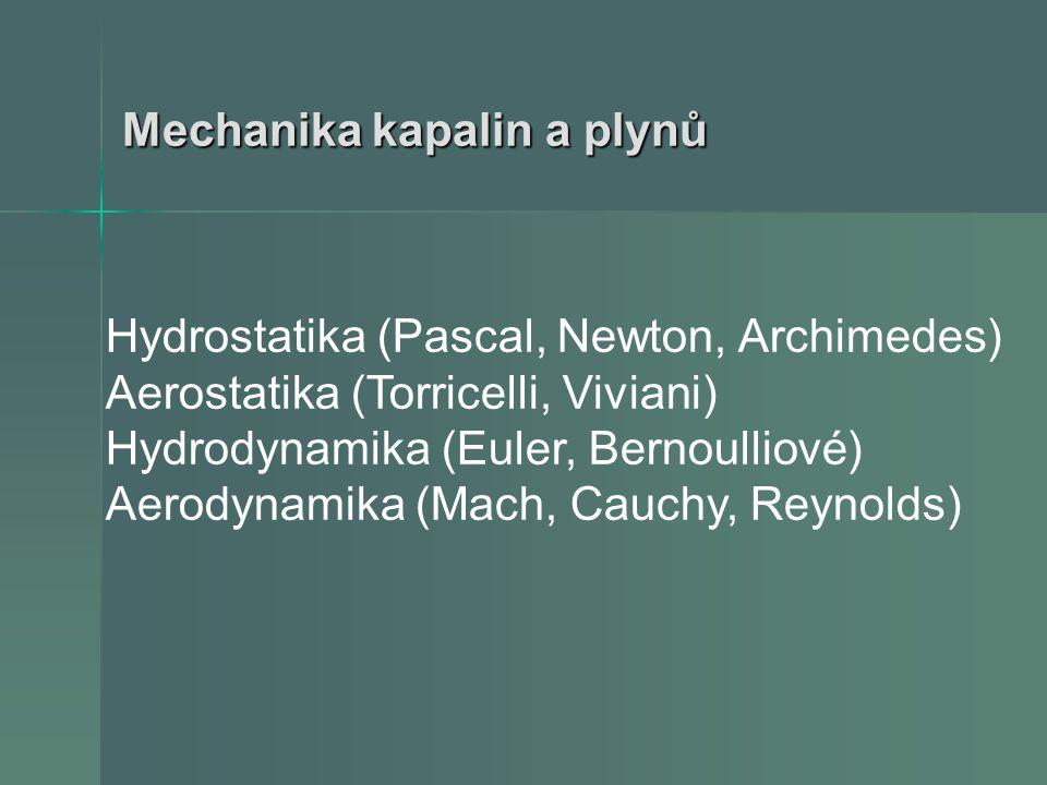 Hydrostatika (Pascal, Newton, Archimedes) Aerostatika (Torricelli, Viviani) Hydrodynamika (Euler, Bernoulliové) Aerodynamika (Mach, Cauchy, Reynolds)