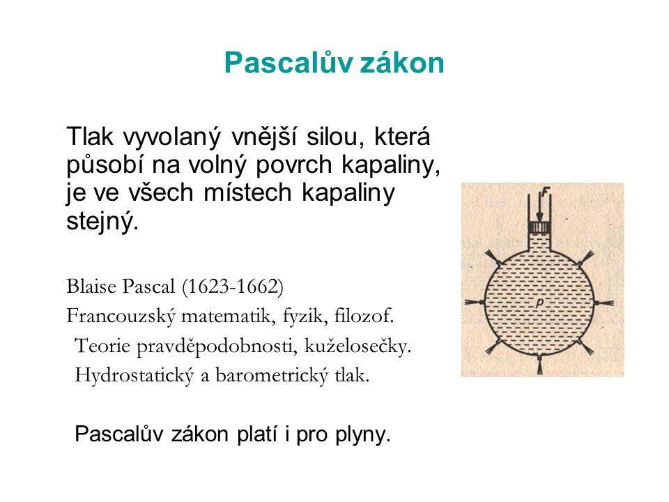 Pascalův zákon Tlak vyvolaný vnější silou, která působí na volný povrch kapaliny, je ve všech místech kapaliny stejný. Blaise Pascal (1623-1662) Franc