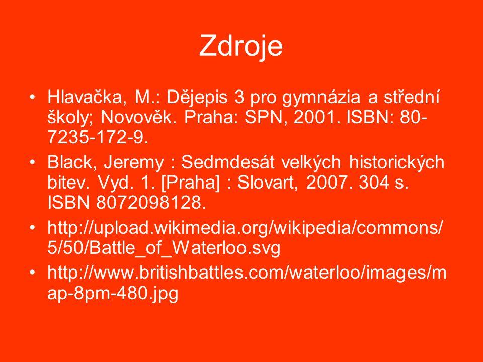 Zdroje Hlavačka, M.: Dějepis 3 pro gymnázia a střední školy; Novověk.