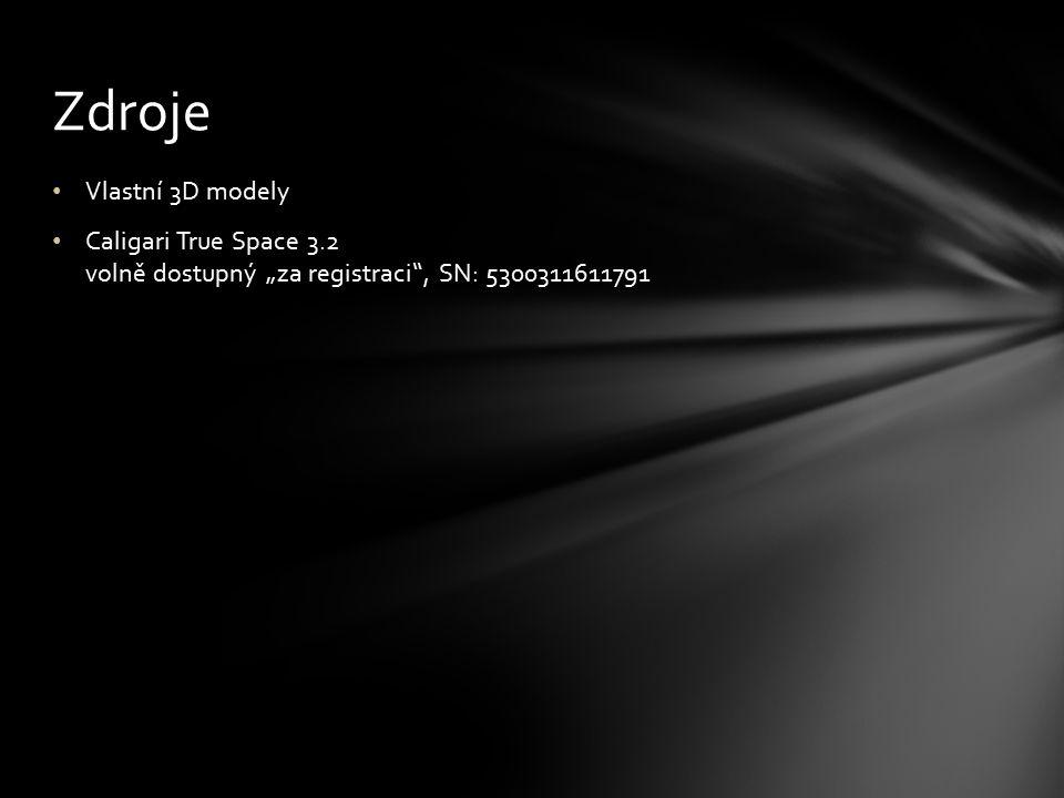 """Vlastní 3D modely Caligari True Space 3.2 volně dostupný """"za registraci"""", SN: 5300311611791 Zdroje"""