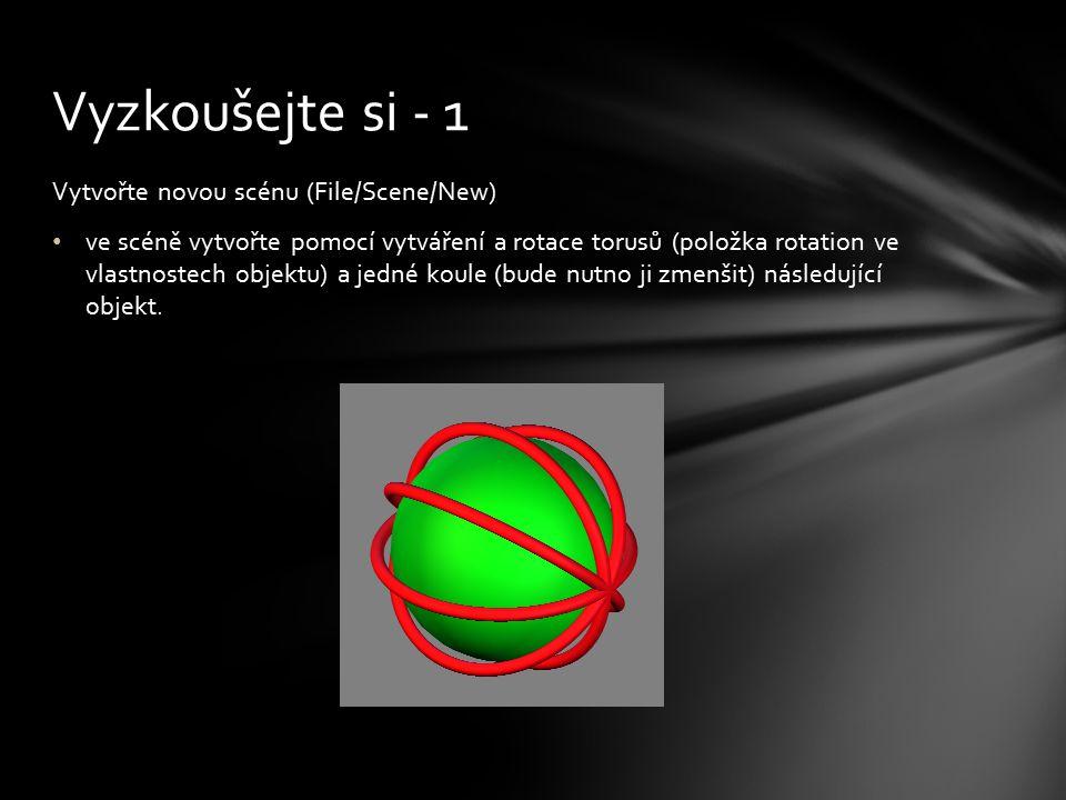 Vytvořte novou scénu (File/Scene/New) ve scéně vytvořte pomocí vytváření a rotace torusů (položka rotation ve vlastnostech objektu) a jedné koule (bud