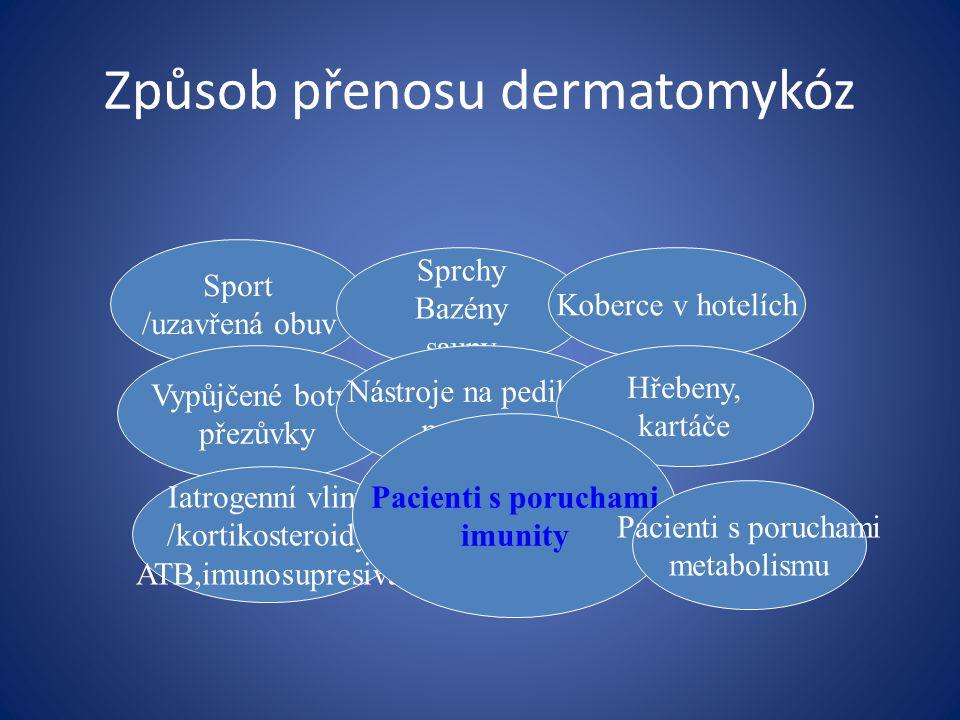 Způsob přenosu dermatomykóz Sport /uzavřená obuv Sprchy Bazény sauny Koberce v hotelích Vypůjčené boty, přezůvky Nástroje na pedikúru manikúru Hřebeny, kartáče Iatrogenní vliny /kortikosteroidy ATB,imunosupresiva Pacienti s poruchami imunity Pacienti s poruchami metabolismu