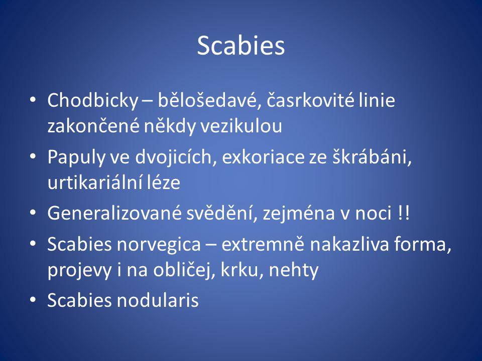Scabies Chodbicky – bělošedavé, časrkovité linie zakončené někdy vezikulou Papuly ve dvojicích, exkoriace ze škrábáni, urtikariální léze Generalizované svědění, zejména v noci !.