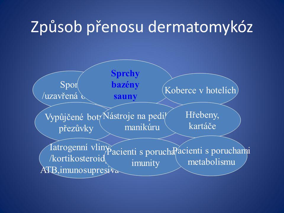 Tinea pedis Postihuje nejčastěji meziprstní prostory mužů středního věku, 10-30% populace Etiologie: Trichophyton rubrum, Trichophyton interdigitale Klinické formy: Interdigitalní – začervenalá olupující se kůže, později macerovaná, bělavá, ztluštělá, s tvorbou prasklin, svěděním.