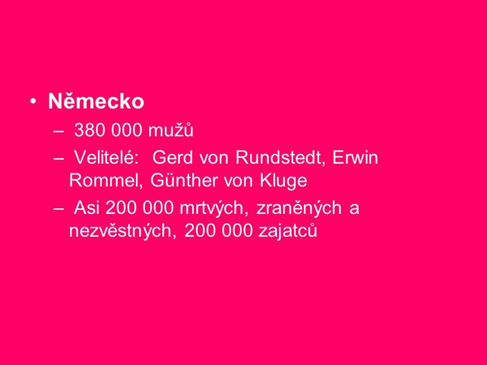 Německo – 380 000 mužů – Velitelé: Gerd von Rundstedt, Erwin Rommel, Günther von Kluge – Asi 200 000 mrtvých, zraněných a nezvěstných, 200 000 zajatců