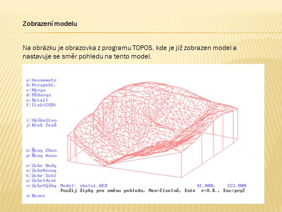 Na obrázku je obrazovka z programu TOPOS, kde je již zobrazen model a nastavuje se směr pohledu na tento model. Zobrazení modelu