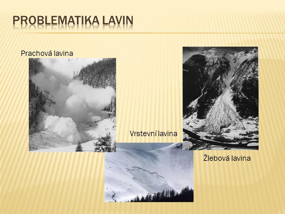 Prachová lavina Vrstevní lavina Žlebová lavina