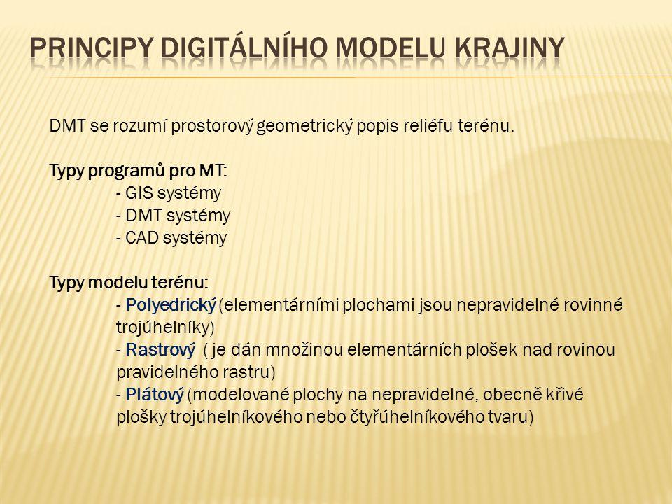 DMT se rozumí prostorový geometrický popis reliéfu terénu. Typy programů pro MT: - GIS systémy - DMT systémy - CAD systémy Typy modelu terénu: - Polye