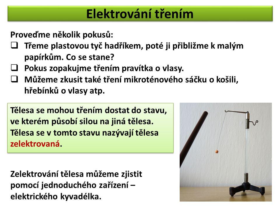Elektrování třením Proveďme několik pokusů:  Třeme plastovou tyč hadříkem, poté ji přibližme k malým papírkům.