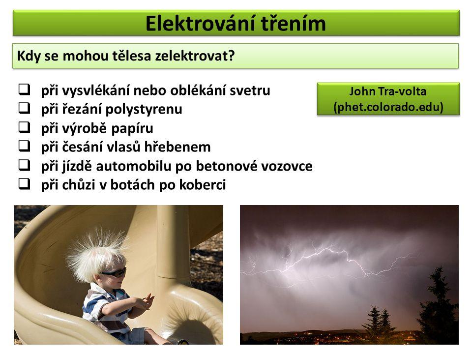 Elektrování třením Kdy se mohou tělesa zelektrovat? Kdy se mohou tělesa zelektrovat?  při vysvlékání nebo oblékání svetru  při řezání polystyrenu 