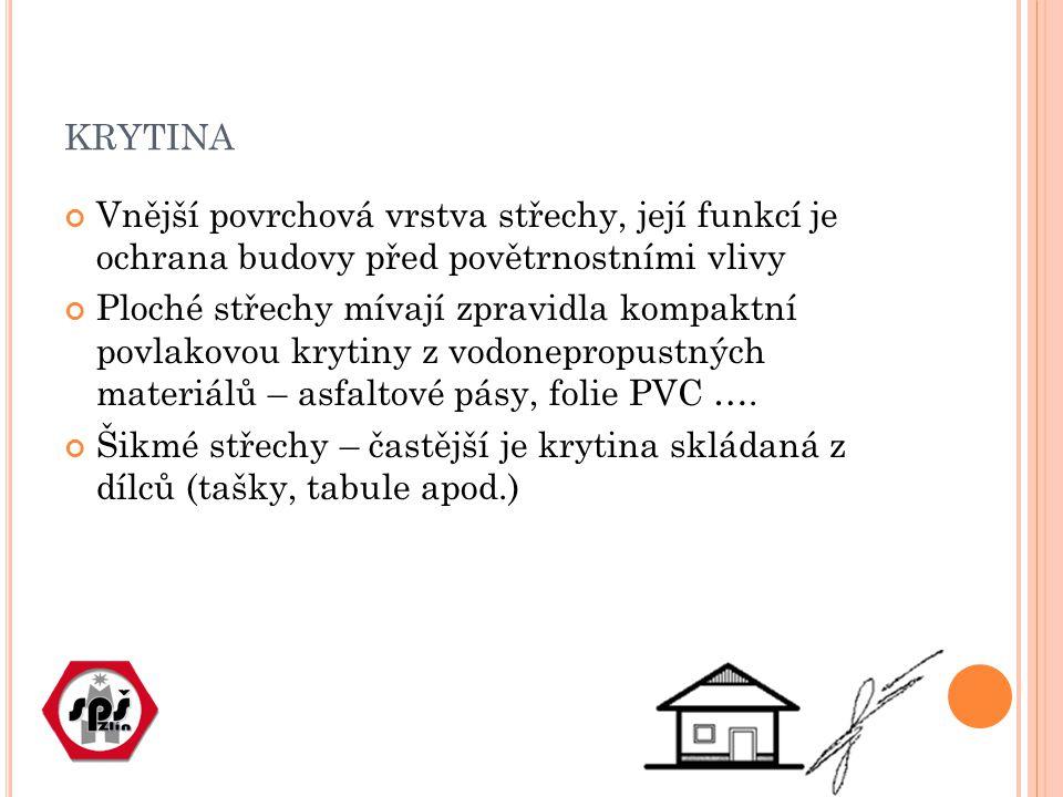 KRYTINA Vnější povrchová vrstva střechy, její funkcí je ochrana budovy před povětrnostními vlivy Ploché střechy mívají zpravidla kompaktní povlakovou krytiny z vodonepropustných materiálů – asfaltové pásy, folie PVC ….