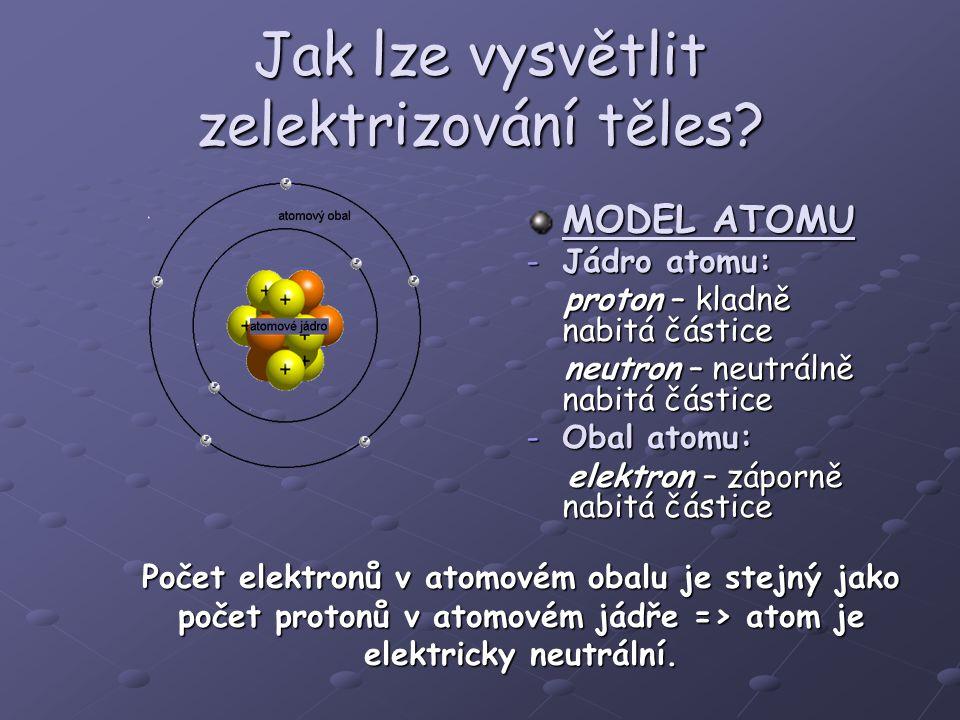 Jak lze vysvětlit zelektrizování těles? MODEL ATOMU -Jádro atomu: proton – kladně nabitá částice proton – kladně nabitá částice neutron – neutrálně na