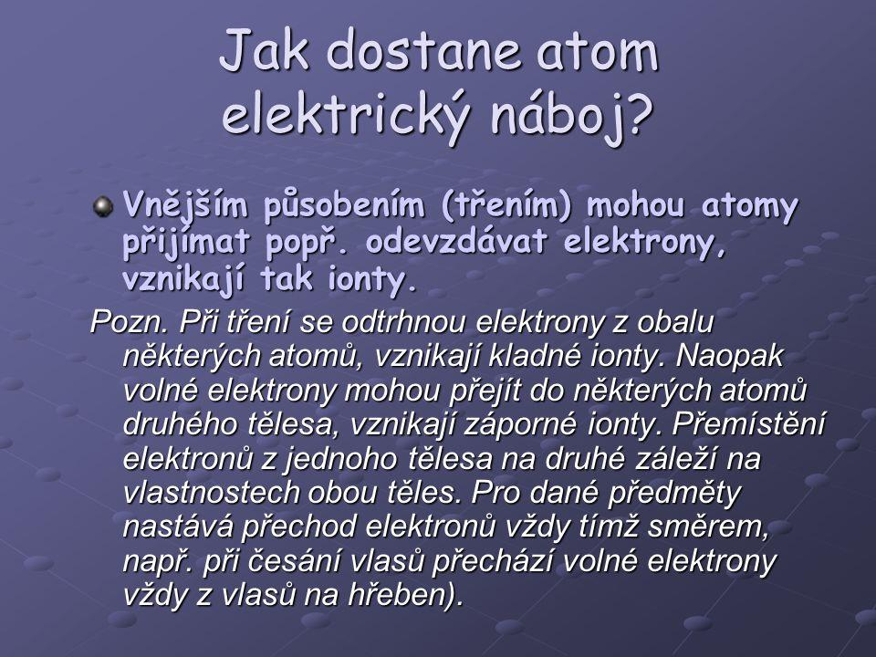 Jak dostane atom elektrický náboj? Vnějším působením (třením) mohou atomy přijímat popř. odevzdávat elektrony, vznikají tak ionty. Pozn. Při tření se
