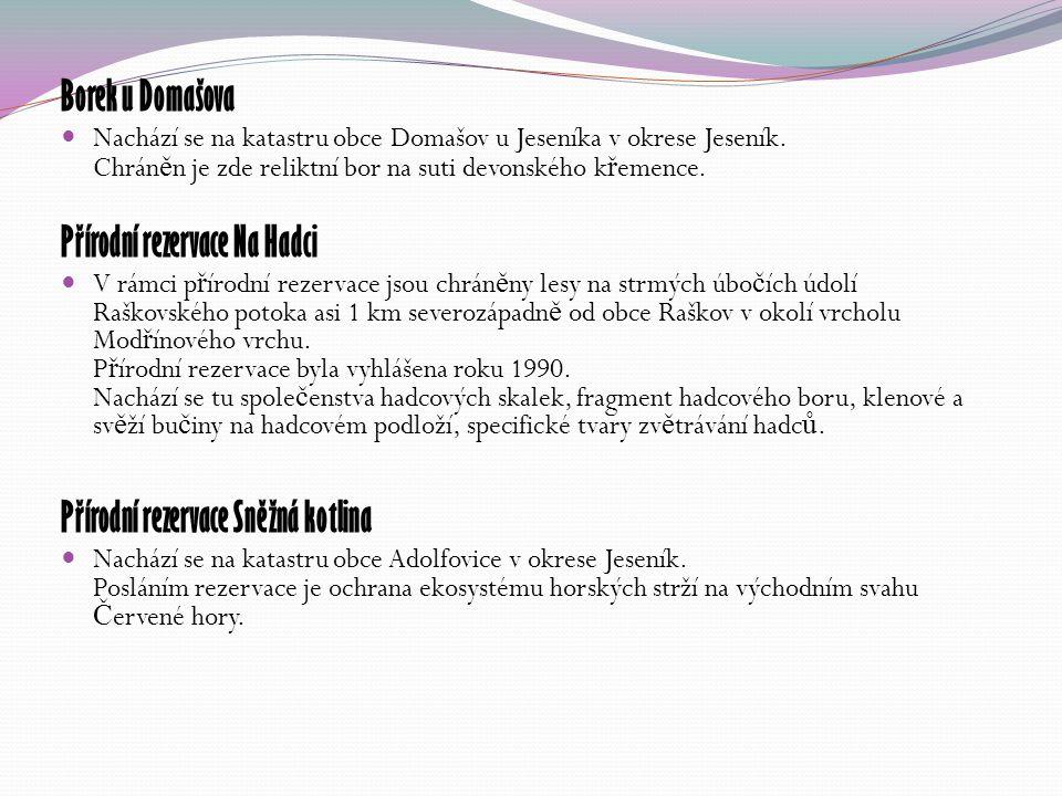 Borek u Domašova Nachází se na katastru obce Domašov u Jeseníka v okrese Jeseník.