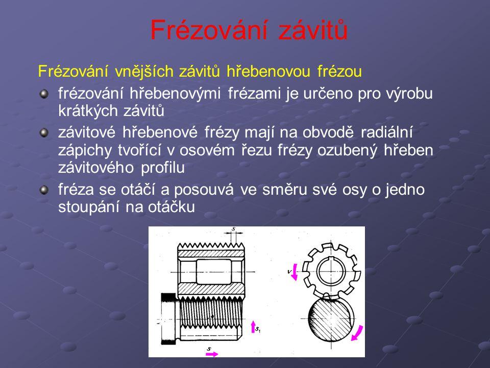 Frézování vnějších závitů hřebenovou frézou frézování hřebenovými frézami je určeno pro výrobu krátkých závitů závitové hřebenové frézy mají na obvodě radiální zápichy tvořící v osovém řezu frézy ozubený hřeben závitového profilu fréza se otáčí a posouvá ve směru své osy o jedno stoupání na otáčku Frézování závitů