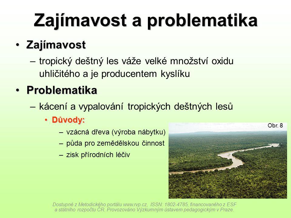 Zajímavost a problematika ZajímavostZajímavost –tropický deštný les váže velké množství oxidu uhličitého a je producentem kyslíku ProblematikaProblema
