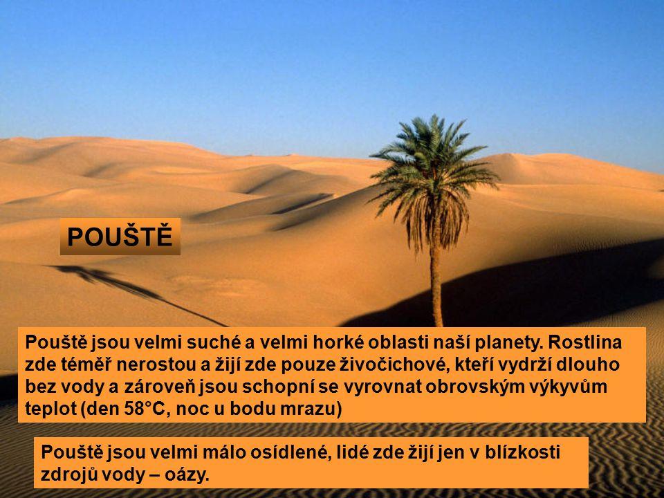 POUŠTĚ Pouště jsou velmi suché a velmi horké oblasti naší planety. Rostlina zde téměř nerostou a žijí zde pouze živočichové, kteří vydrží dlouho bez v