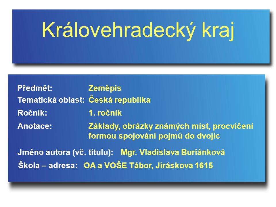 Královehradecký kraj Jméno autora (vč.titulu): Škola – adresa: Ročník: Předmět: Anotace: 1.