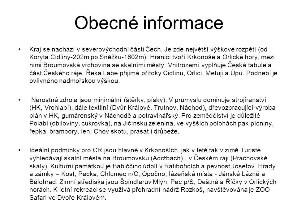 Obecné informace Kraj se nachází v severovýchodní části Čech.