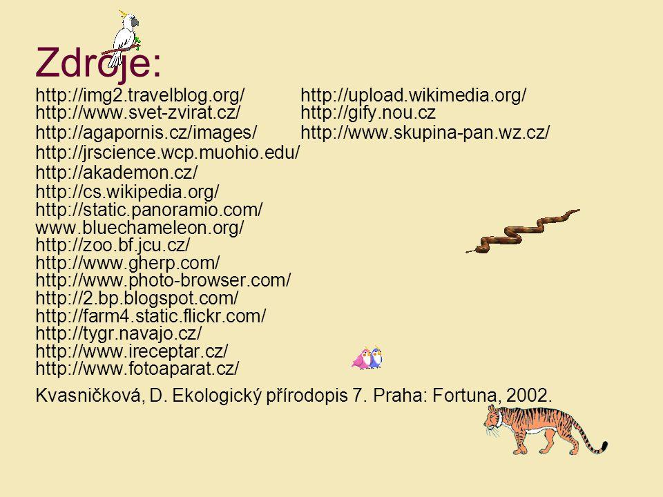 Zdroje: http://img2.travelblog.org/http://upload.wikimedia.org/ http://www.svet-zvirat.cz/ http://gify.nou.cz http://agapornis.cz/images/ http://www.s
