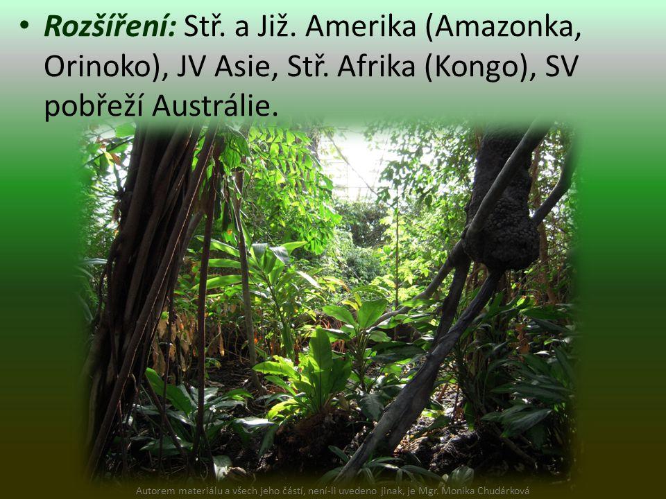 Rozšíření: Stř. a Již. Amerika (Amazonka, Orinoko), JV Asie, Stř. Afrika (Kongo), SV pobřeží Austrálie. Autorem materiálu a všech jeho částí, není-li