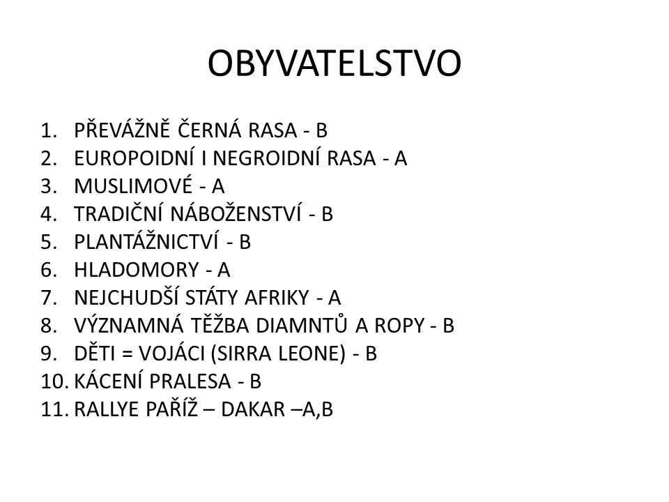 OBYVATELSTVO 1.PŘEVÁŽNĚ ČERNÁ RASA - B 2.EUROPOIDNÍ I NEGROIDNÍ RASA - A 3.MUSLIMOVÉ - A 4.TRADIČNÍ NÁBOŽENSTVÍ - B 5.PLANTÁŽNICTVÍ - B 6.HLADOMORY - A 7.NEJCHUDŠÍ STÁTY AFRIKY - A 8.VÝZNAMNÁ TĚŽBA DIAMNTŮ A ROPY - B 9.DĚTI = VOJÁCI (SIRRA LEONE) - B 10.KÁCENÍ PRALESA - B 11.RALLYE PAŘÍŽ – DAKAR –A,B