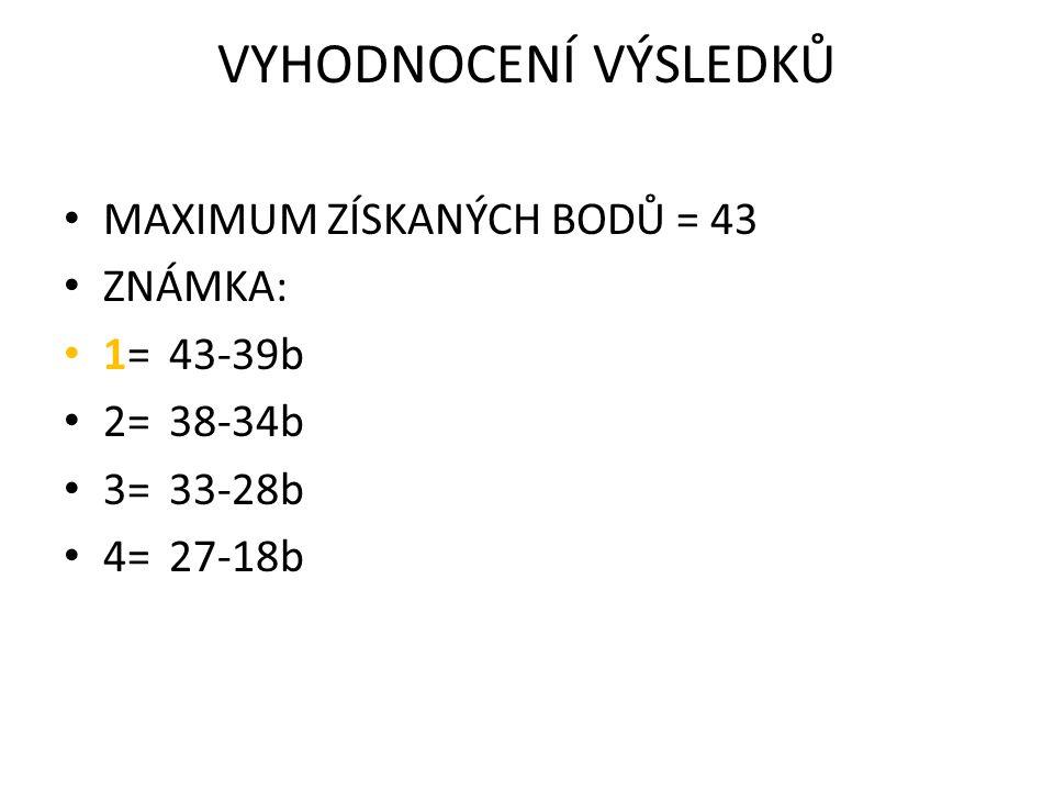 VYHODNOCENÍ VÝSLEDKŮ MAXIMUM ZÍSKANÝCH BODŮ = 43 ZNÁMKA: 1=43-39b 2=38-34b 3=33-28b 4=27-18b