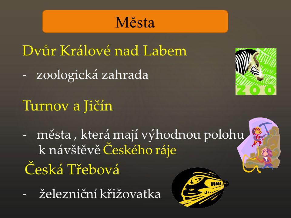 Města Dvůr Králové nad Labem - zoologická zahrada Turnov a Jičín -města, která mají výhodnou polohu k návštěvě Českého ráje Česká Třebová - železniční křižovatka