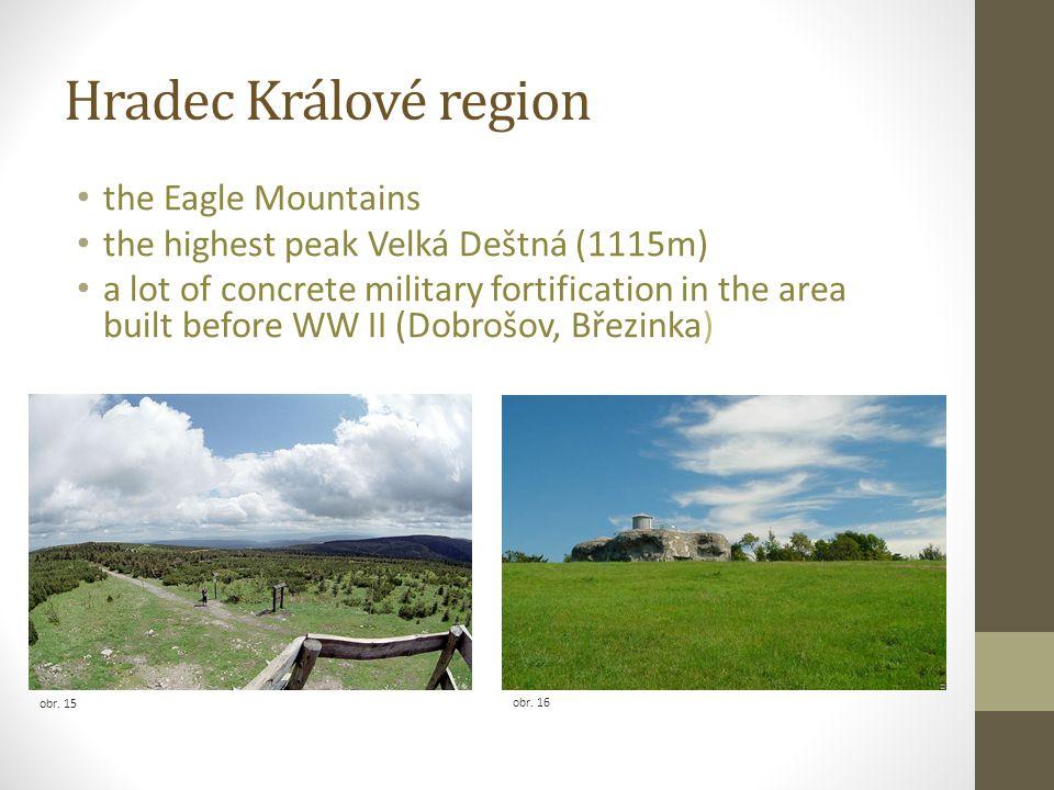 Hradec Králové region the Eagle Mountains the highest peak Velká Deštná (1115m) a lot of concrete military fortification in the area built before WW I