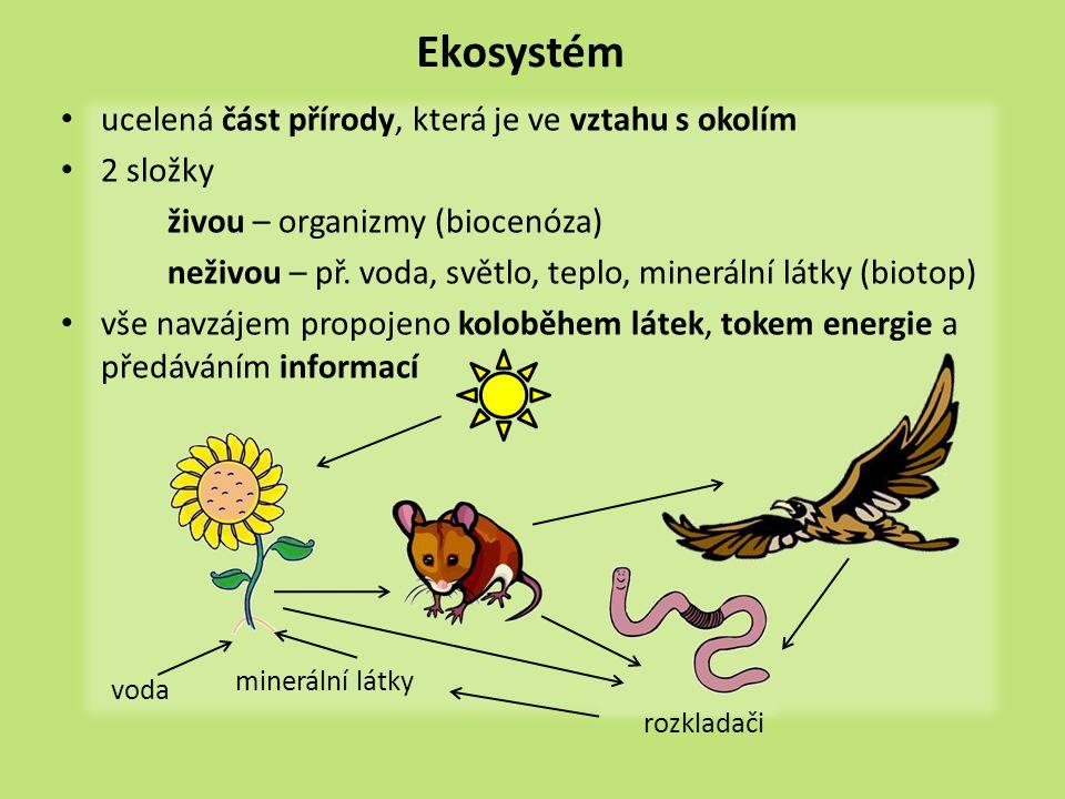 příklady ekosystémů  Dokážete sami uvést příklady ekosystémů.