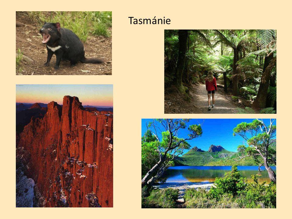 Povrch většinou plošiny Velké předělové pohoří (východ) Australské Alpy (jih)-v zimě sníh Ayersova skála (Uluru) .