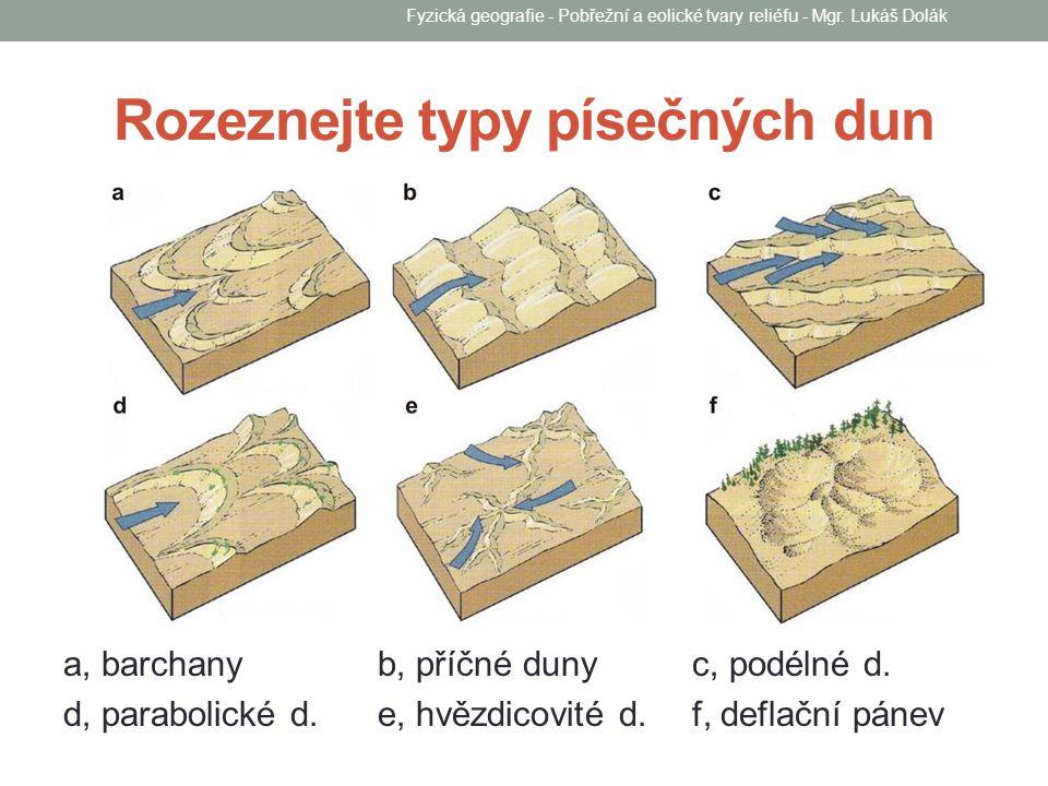 Rozeznejte typy písečných dun a, barchanyb, příčné duny c, podélné d. d, parabolické d. e, hvězdicovité d. f, deflační pánev Fyzická geografie - Pobře