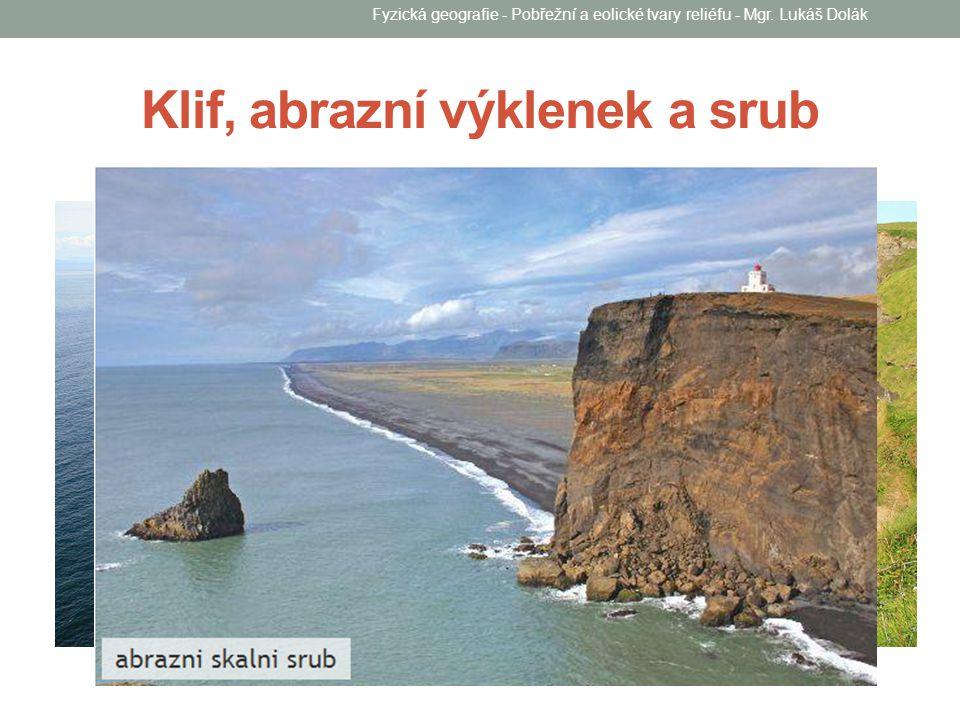 Klif, abrazní výklenek a srub Fyzická geografie - Pobřežní a eolické tvary reliéfu - Mgr. Lukáš Dolák