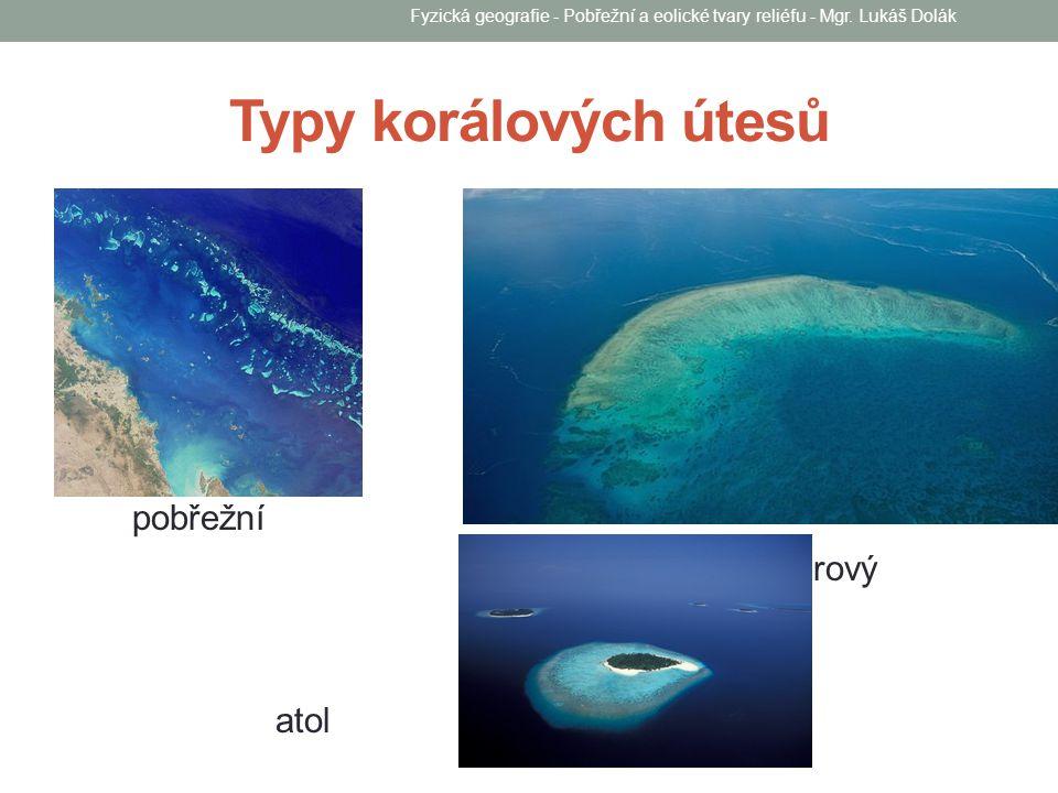 Typy korálových útesů pobřežní bariérový atol Fyzická geografie - Pobřežní a eolické tvary reliéfu - Mgr. Lukáš Dolák