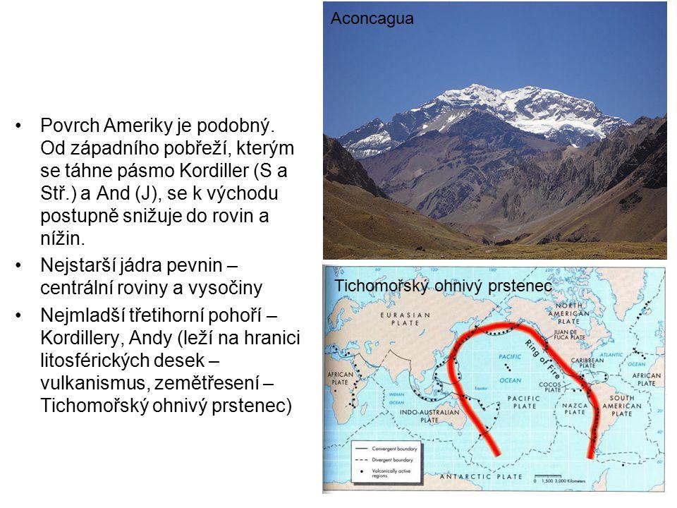 Povrch Ameriky je podobný. Od západního pobřeží, kterým se táhne pásmo Kordiller (S a Stř.) a And (J), se k východu postupně snižuje do rovin a nížin.