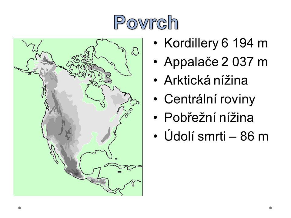 Kordillery 6 194 m Appalače 2 037 m Arktická nížina Centrální roviny Pobřežní nížina Údolí smrti – 86 m