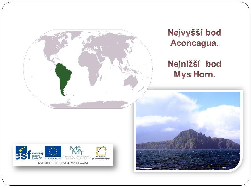 Pevninské mysy Nejsevernější bod: Punta Gallinas (poloostrov Guajira v Kolumbii) Nejjižnější bod: Cabo Froward (poloostrov Brunswick v Chile) Nejzápadnější bod: Punta Pariñas (severní Peru) Nejvýchodnější bod: mys Branco (Brazílie)