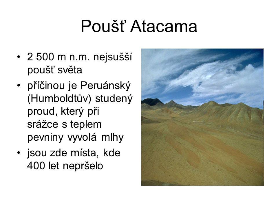 Poušť Atacama 2 500 m n.m. nejsušší poušť světa příčinou je Peruánský (Humboldtův) studený proud, který při srážce s teplem pevniny vyvolá mlhy jsou z