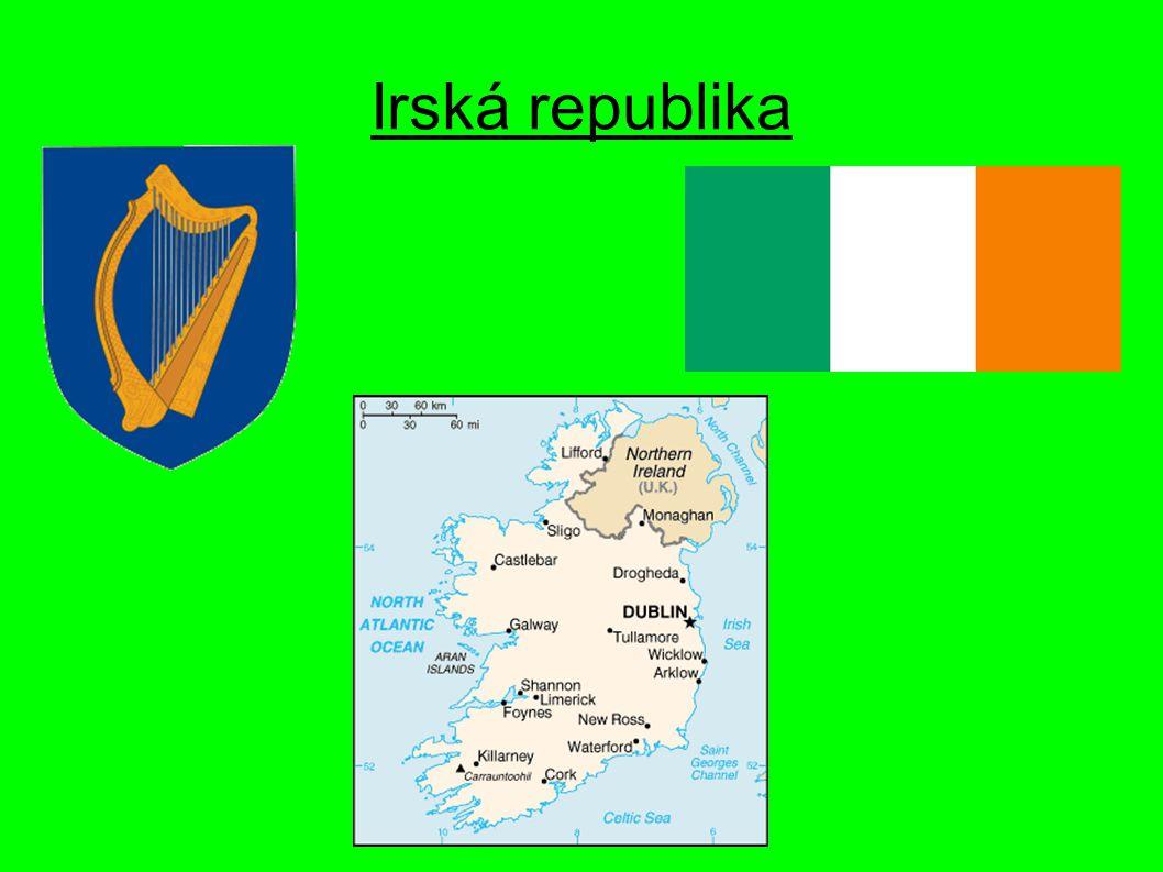 Poloha Na území Irského ostrova Hlavní město Dublin (505 739 obyvatel) Sousedé – Spojené království Velké Británie a Severního Irska Atlantský oceán, Irské a Keltské moře