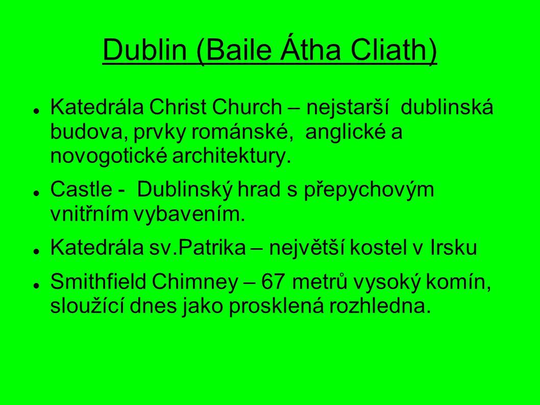 Dublin (Baile Átha Cliath) Katedrála Christ Church – nejstarší dublinská budova, prvky románské, anglické a novogotické architektury. Castle - Dublins