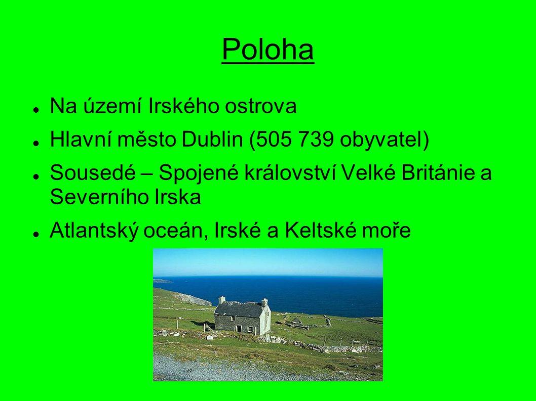 Poloha Na území Irského ostrova Hlavní město Dublin (505 739 obyvatel) Sousedé – Spojené království Velké Británie a Severního Irska Atlantský oceán,