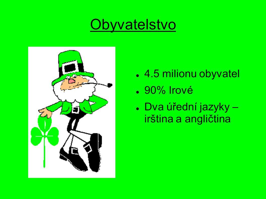 Obyvatelstvo 4.5 milionu obyvatel 90% Irové Dva úřední jazyky – irština a angličtina
