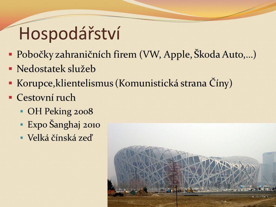 Hospodářství  Pobočky zahraničních firem (VW, Apple, Škoda Auto,…)  Nedostatek služeb  Korupce,klientelismus (Komunistická strana Číny)  Cestovní ruch  OH Peking 2008  Expo Šanghaj 2010  Velká čínská zeď