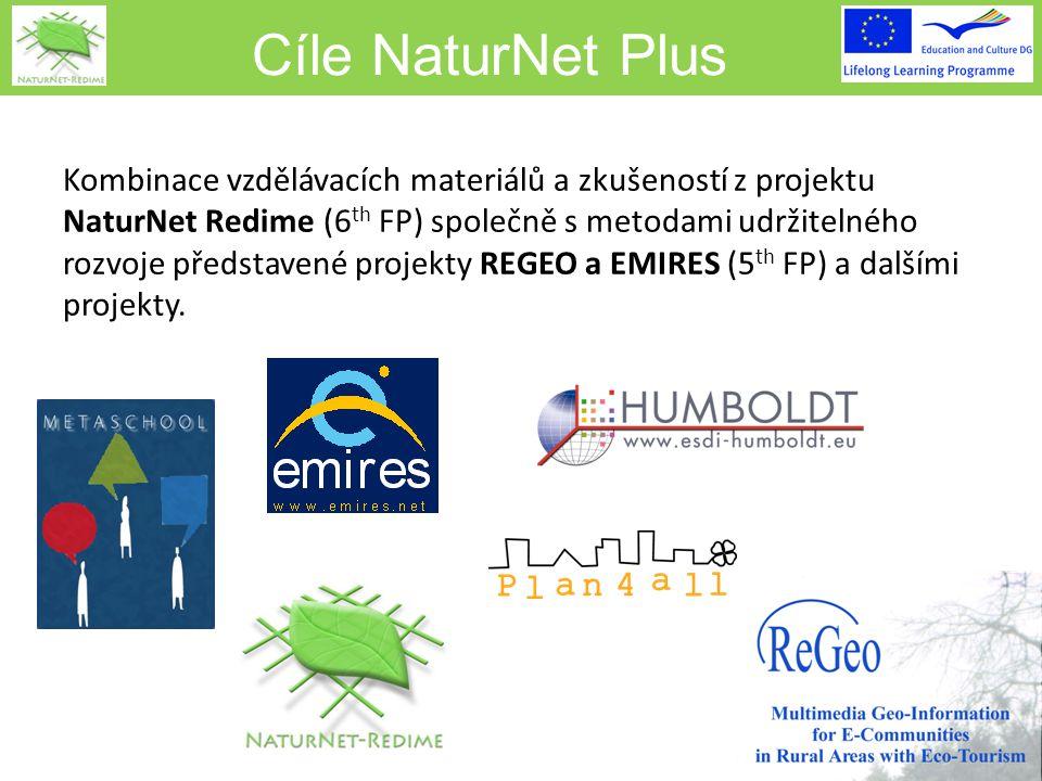 Cíle NaturNet Plus Kombinace vzdělávacích materiálů a zkušeností z projektu NaturNet Redime (6 th FP) společně s metodami udržitelného rozvoje představené projekty REGEO a EMIRES (5 th FP) a dalšími projekty.