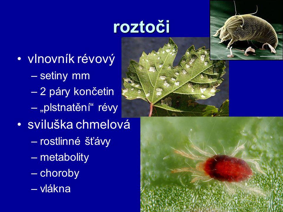"""roztoči vlnovník révový –setiny mm –2 páry končetin –""""plstnatění révy sviluška chmelová –rostlinné šťávy –metabolity –choroby –vlákna"""