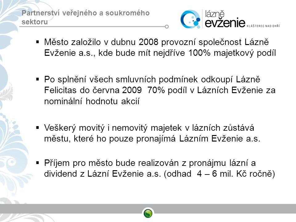 Partnerství veřejného a soukromého sektoru  Město založilo v dubnu 2008 provozní společnost Lázně Evženie a.s., kde bude mít nejdříve 100% majetkový
