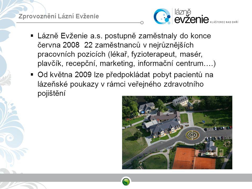 Zprovoznění Lázní Evženie  Lázně Evženie a.s. postupně zaměstnaly do konce června 2008 22 zaměstnanců v nejrůznějších pracovních pozicích (lékař, fyz