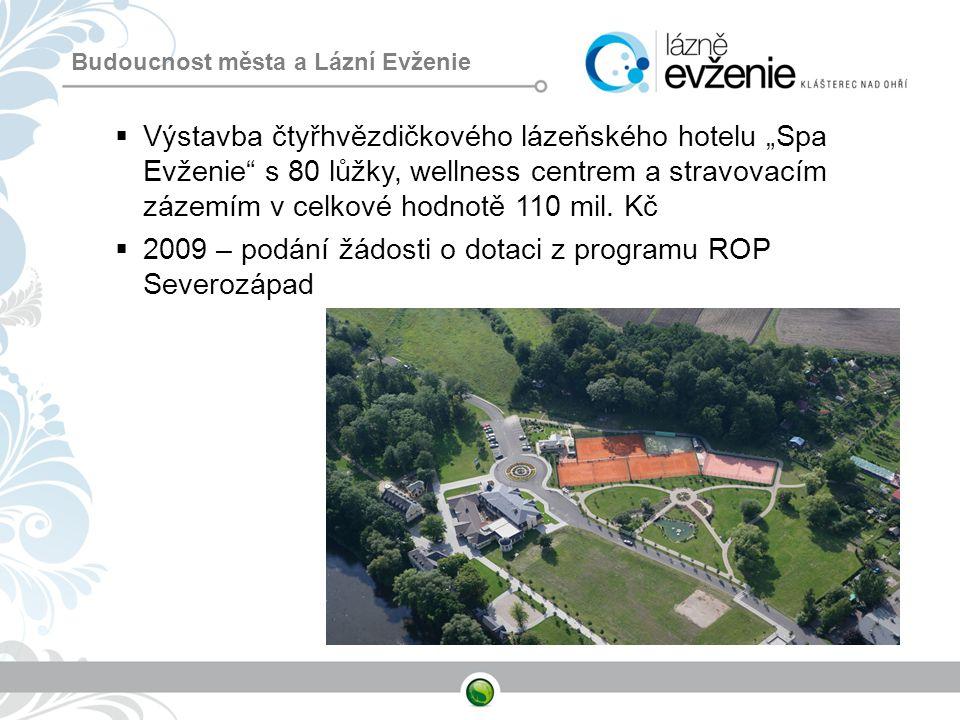 """ Výstavba čtyřhvězdičkového lázeňského hotelu """"Spa Evženie"""" s 80 lůžky, wellness centrem a stravovacím zázemím v celkové hodnotě 110 mil. Kč  2009 –"""