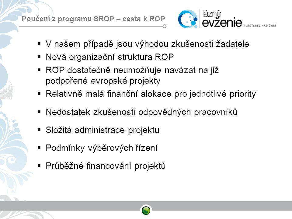 Poučení z programu SROP – cesta k ROP  V našem případě jsou výhodou zkušenosti žadatele  Nová organizační struktura ROP  ROP dostatečně neumožňuje